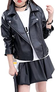 Girls Fashion PU Leather Motorcycle Jacket Children's Outerwear Slim Coat 2-12 Years