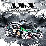 1:28 Escala Mini RC Coche, 30Km/h Alta Velocidad Rally Car 2.4G Vehículo de Control Remoto 4×4 Off Road RC Racing Car, Hobby Toy Cars para adultos y niños, Aleación Chasis/neumáticos de goma