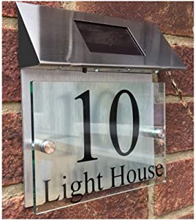 ThedisplayDeal Custom House Addres Door Plaque, Solar Powered, Glass Look Acrylic & Brushed Aluminum Double Panel, Text Area 7