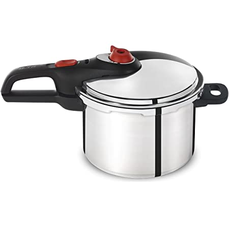 T-fal P2614634 Secure Aluminum Initiatives 12-PSI Pressure Cooker Cookware, 6-Quart, Siver
