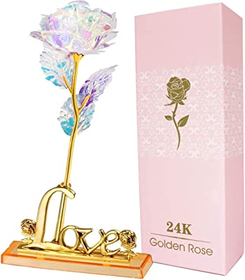 AUSAYE 24K Galaxy Rose Forever Rose Artificial Flowers Unique Gifts for Valentine's Day Thanksgiving Mothers Day Girl's Birthday, Flower Presents for Her Girlfriend Wife Women Mom