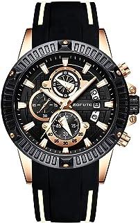 BOFUTE Multifonction Chronographe Homme Lumineux Militaire Sports de Plein Air Grand en Silicone Montre avec Quartz(Noir B...