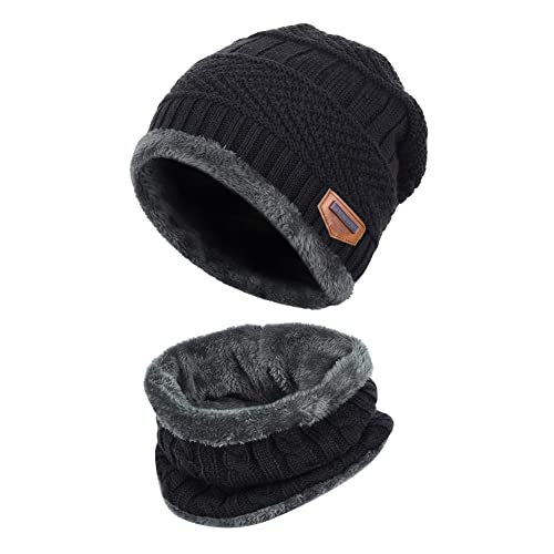 Vbiger Warm Knitted Hat and Circle Scarf Skiing Hat Outdoor Sports Hat Sets 8b2899df990