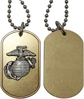 Indiana Metal Craft US Marine Corps Brass Dog Tag with Pewter EGA Emblem. Made in USA.