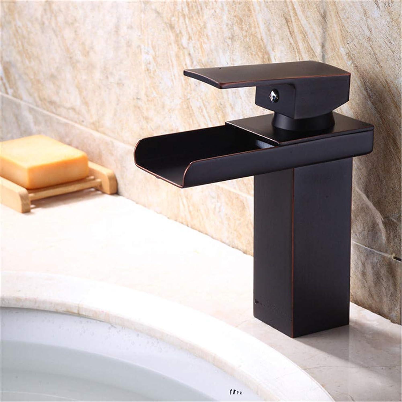 SEBAS HOME Bathroom Sink Taps Black Hot And Cold Basin Faucet Square Bathroom Faucet Faucet Square Sink Faucet