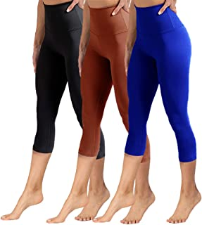 YOLIX High Waisted Capri Leggings for Women Tummy Control Soft Opaque Slim Tights for..