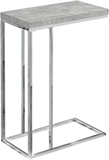 Monarch Specialties I 3007, Accent Table, Chrome Metal, Grey Cement
