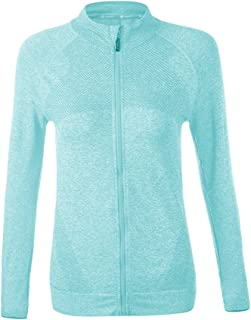 Chastep Running Yoga Tops Full Zip Women Long Sleeves Activewear Jacket with Thumb Holes Fast Dry