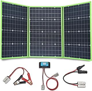 XINPUGUANG 150W (3X 50W) Panel solar plegables 12v Monocristalino Silicona Flexible Cargador Solar para 12V Batería Camper Canvan Camping Senderismo RV Carga (Verde)