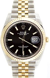 Datejust 41mm Black Dial 18k Yellow Gold And Steel Watch 126333