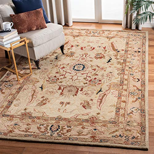 Safavieh Anatolia Collection AN514A Handmade Traditional Oriental Ivory and Beige Wool Area Rug (8' x 10')