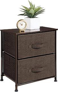 mDesign Mesa de luz con 2 cajones – Organizador de armarios en tela – Cajoneras para armarios para el dormitorio o el ves...