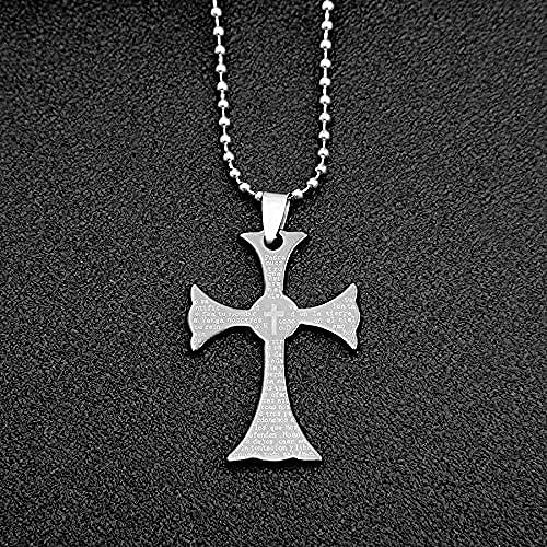NC198 Collar de Cruz de Acero de Titanio para Hombre de Estilo gótico, Colgante de Escritura para Mujer, Cadena de suéter, joyería