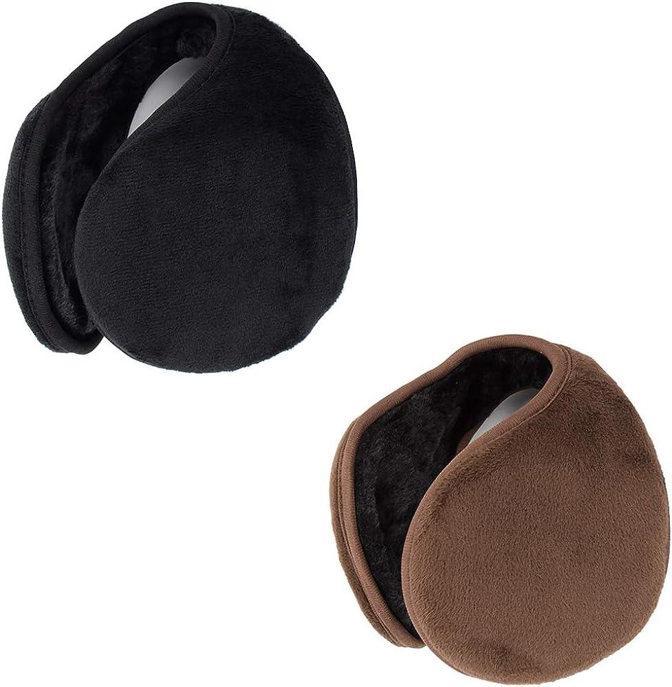 Unisex Winter Earmuffs Foldable Ear Warmers Polar Fleece for Men Women 2 Pack