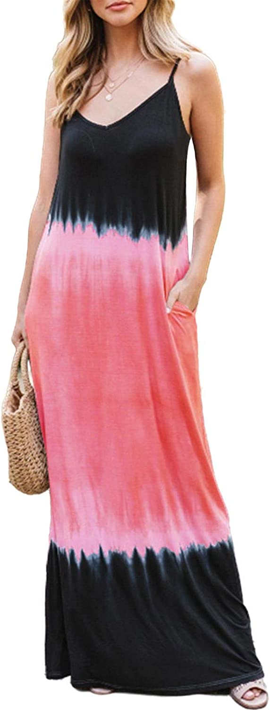 BINGMAX Women's 2021 Summer Spaghetti Strap Maxi Dress Sleeveless Tie Dye Long Beach Casual Dress