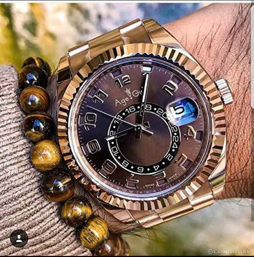 HNOLVH Neue Herren Automatik Mechanische Uhren Sky Keramik Lünette Kristall Saphir Qualität Roségold Silber Kaffee