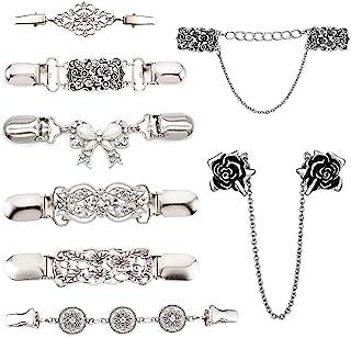 AUHOTA 8 Piezas Clips de Suéter Vintage, Clips de Retro Chal Clip de Cardigan para Mujer Niñas, Patrones de Flores Broches...
