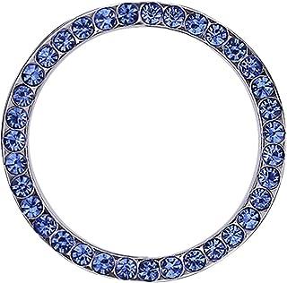 دکوراسیون اتومبیل هند Bling Crystal Rhinestone Ring لوازم جانبی اتومبیل دکمه اشتعال موتور شروع کلید یا دستگیره ماشین Bling Sticker Ring Emble (آبی)