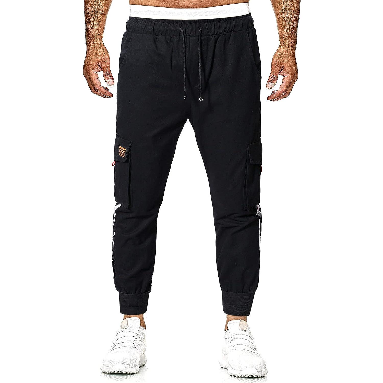 Men's Cargo Pants Slim Fit Casual Jogger Pant Chino Trousers Sweatpants Trackpants (3X-Large,Black)