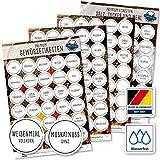 130 Gewürze Etiketten Aufkleber - rund - schwarz/weiß - Gewürzetiketten selbstklebend - wasserfest - Gewürz Sticker - 38mm - für Gewürzgläser, Dosen und Regale - XXL Edition (schwarz/weiß)