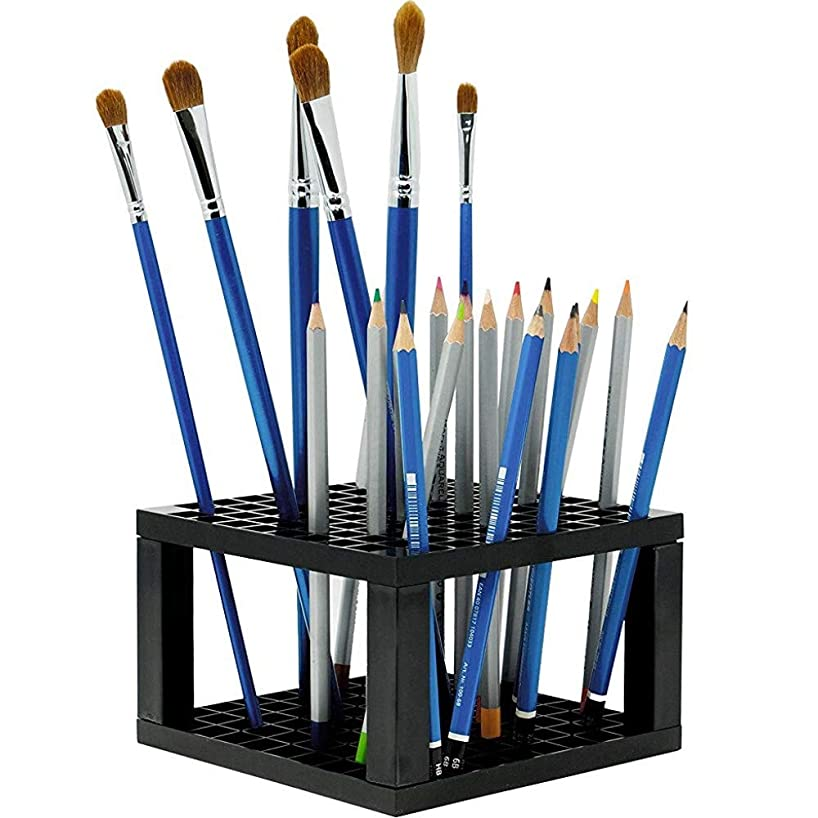 Onwon Paint Brush Holder 96 Hole Pencil Pen Brush Organizer Desk Stand Organizer Holder White Plastic Round Brush Stand for Artist Painting (Not Includes Pencil and Paintbrush)