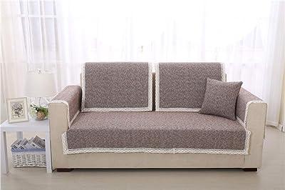 UTDFEOPSG Protector Cubresofá Adaptable Funda Sofá,Fundas de sofá Sofá Cojín de sofá Universal de Cuatro Estaciones, Funda de sofá con Funda de algodón y Toalla 1/2/3/4 plazas Marrón 18 * 18 Inch: