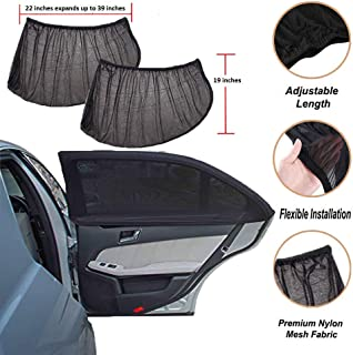 CARBONLAND Car-Window Side Rear Windows Sun-Shade UV Protection for Baby, Kids and Adult (2 Packs) Fits Small and Medium Cars