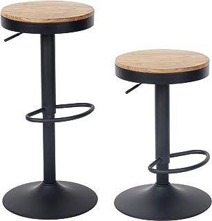 YOUNIKE Tabouret de Bar en Bois réglable en Hauteur Hauteur réglable Tabouret de Bar Simple avec Dossier Chaise de Bar Vin...