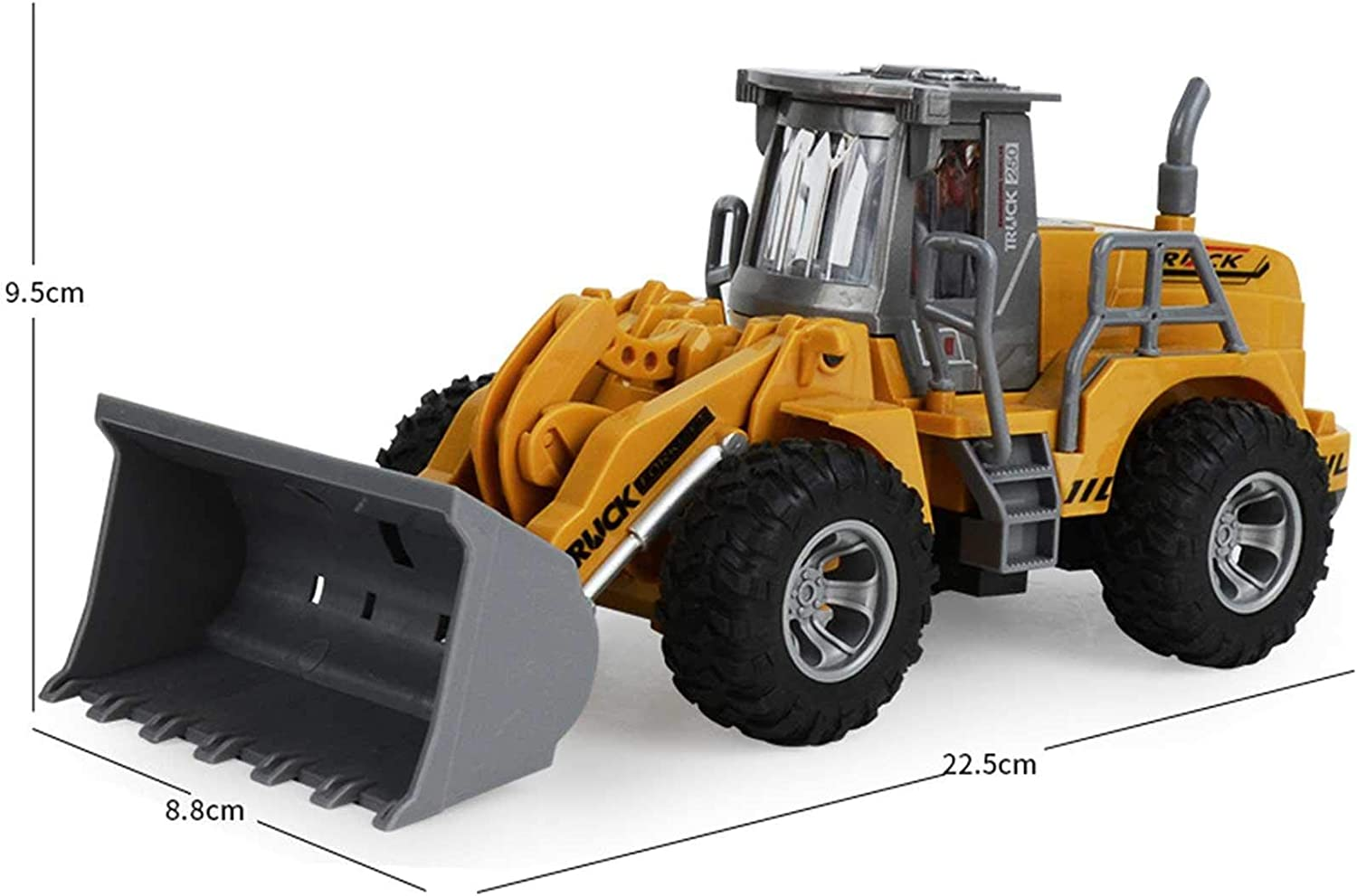 chlius Remote Control Bulldozer Toy Without Battery - With Realistic Performances 5-channel RC Engineering Vehicle With Colorful Lighting RC Front Loader Toy For Kids Boys Ages 3+