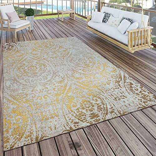 Paco Home In- & Outdoor Teppich Modern Shabby Chic Stil Terrassen Teppich Wetterfest Gelb, Grösse:120x170 cm