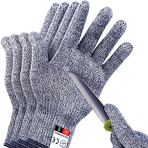 4 PCS (M+L) Cut Resistant Gloves Level 5 Protection for Kitchen, Upgrade Safety Anti Cutting Gloves for Meat Cutting, Wood Carving, Mandolin Slicing and More, THOMEN