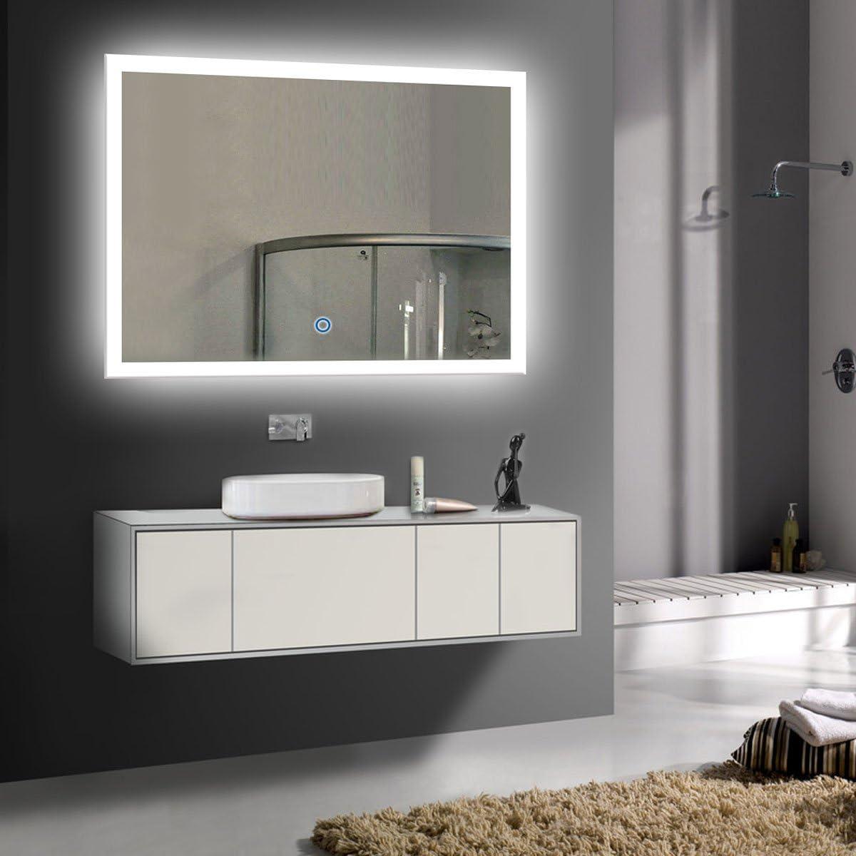 36 x 2020秋冬新作 28 in Horizontal LED Bathroom Silvered Bu Touch お得クーポン発行中 Mirror with