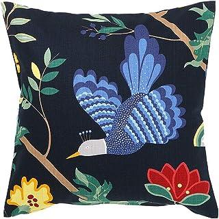 クッションカバー 45×45cm boras cotton(ボラスコットン)BIRDLAND(バードランド) ネイビー 青い鳥