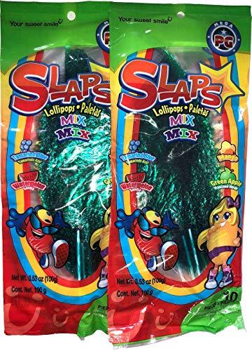 Slaps Mix Lillipops Paletas - 4 Flavors - Tamerind Blue, Watermelon, Mango, Green Apple, 10 Pieces (2 Pack, 20 Pieces)