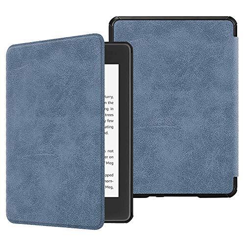 Fintie SlimShell Funda para Kindle Paperwhite (10.ª generación, 2018) - Carcasa Fina y Ligera de Cuero Sintético con Función de Auto-Reposo/Activación, Antiguo Azul Oscuro