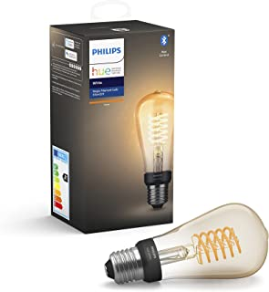 Philips Hue White Filament Single Smart LED ST64 Bulb [E27 Edison Screw] with Bluetooth, Works with Alexa, Google Assistan...