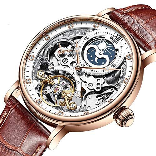 JTTM Relojes Analógicos Automáticos Mecánicos Relojes De Esqueleto Hombres Reloj con Correa De Cuero Marrón Relojes De Pulsera Impermeables para Hombres De Negocios Hombres,White and Brown