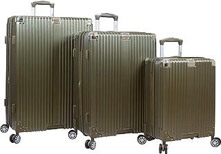 Dejuno Moda Scratch Resistant 3-Piece Hardside Spinner Luggage Set, Black