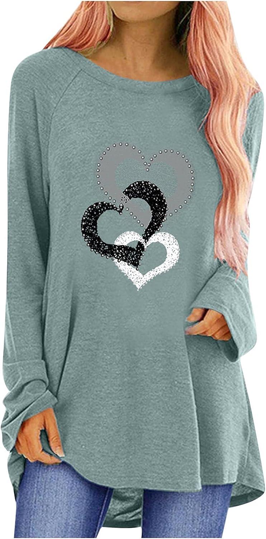 Blouses for Women Fashion, Women Summer Fashion Long Sleeve O-Neck Printing Casual Blouse T-Shirt Tops