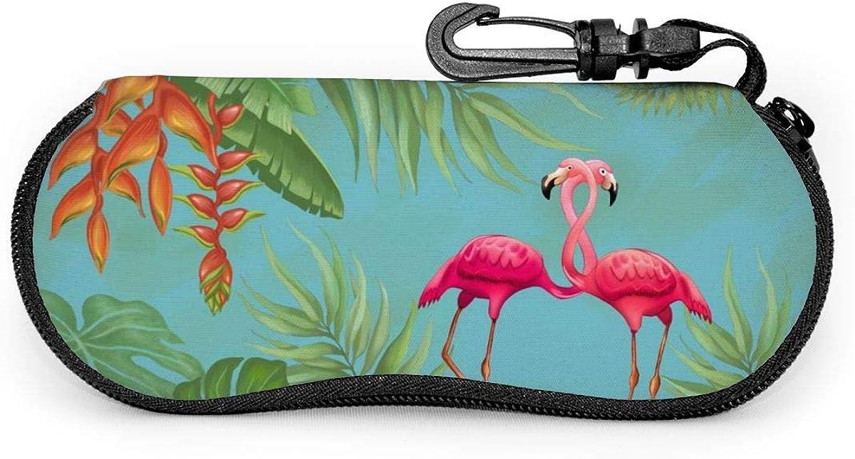 Flamingo And Flowers Sunglasses Soft Case Ultra Light Neoprene Zipper Eyeglass Case With Key Chain