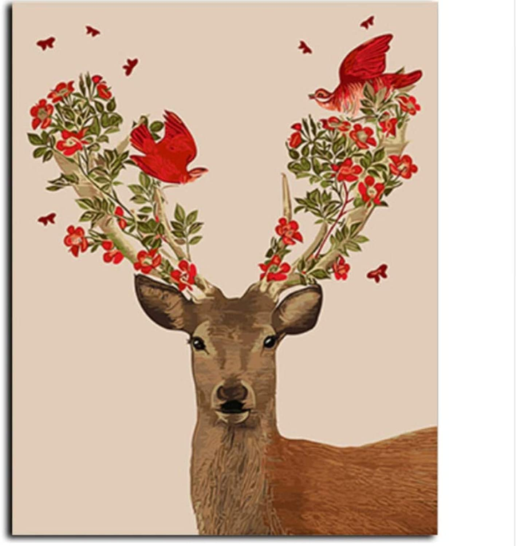 CZYYOU Deer DIY Leinwand Ölgemälde Bild DIY Malen Nach Nach Nach Zahlen Wandkunst Für Wohnzimmer Wohnkultur 40x50cm-Rahmenlos B07PCQYMVC | Perfekt In Verarbeitung  c6a6ae