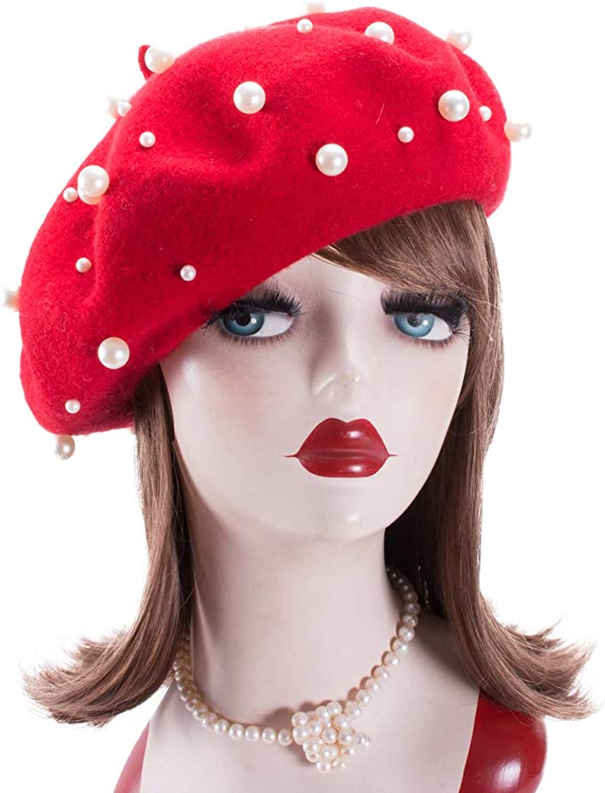 1950s Women's Hat Styles & History Lawliet Sweet French Womens Pearl Beaded 100% Wool Beret Cap Winter Hat Y91  AT vintagedancer.com