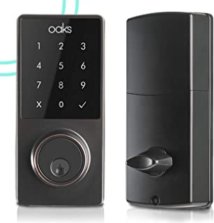 Oaks Smart Lock, Electronic Front Door Deadbolt, Bluetooth, Code and Fob Entry, Keyless Access, Smart Phone App Unlock, Great for Airbnb & Vacation Rentals, Easy to Install (Black)