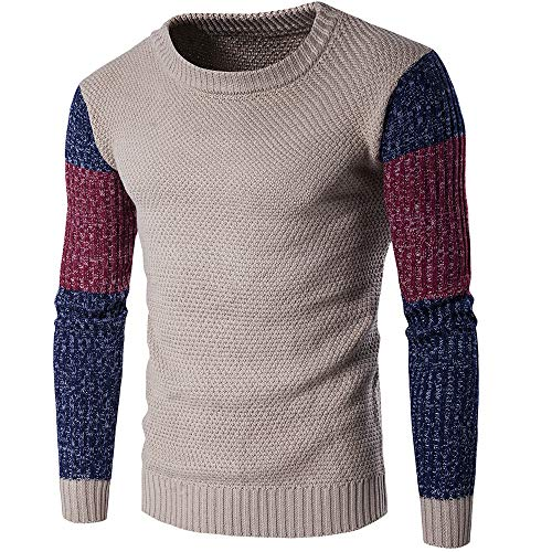 JHTT Men's Pullover Sweater Crew Neck Jumper Knit Sweater Long Sleeve Gradient Style Pullover Men's Jumpers Sweater Fashion Colorblock Warm Knit Sleeve Pullover Bottoming Shirt Warm Knitwear Khaki