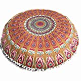 Multicolor Mandala Floor Pillows Round Bohemian Meditation Cushion Cover Ottoman Pouf King Size (B, One Size)