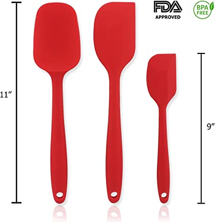 Rubber Spatula, ICASA, 3 Piece Decorating Silicone Spatula Set with Comfortable Wide Handle For Baking Kitchen Cooking Utensil 450° F Heat Resistant Baking Spoon & Spatulas Flexible Heads