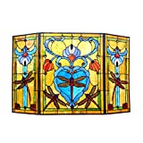 "Chloe Lighting 3pcs Dragonfly 44"" Wide ZYGO Tiffany-Style Folding Fireplace Screen"