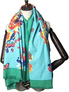 Fashion Autumn and Winter Long Scarf Shawl Sweet Butterfly 130cm Cashmere Scarf Cold Warm Super Large Square (Color : 03, Size : 130 * 130cm)