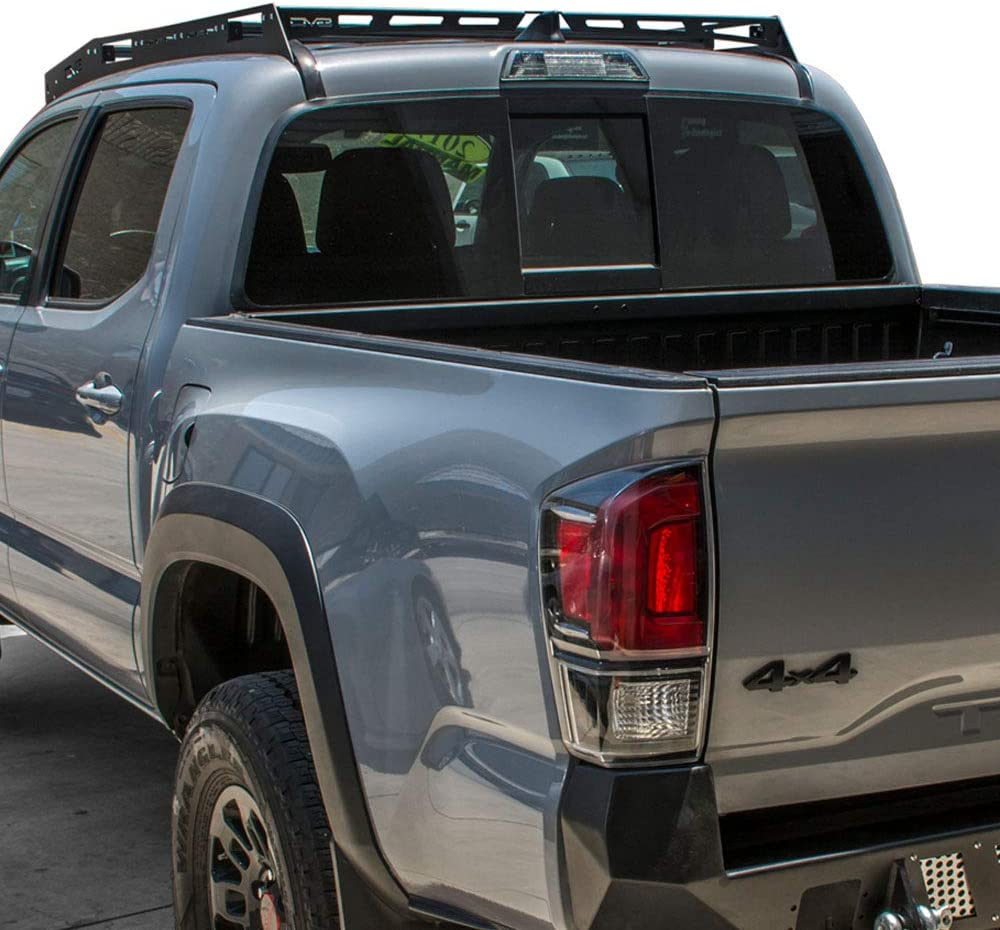 DV8 Offroad   Slotted Aluminum Roof Rack   Compatible with 2016+ Toyota Tacoma Double Cab   Optional Light Mounts   Black Finish