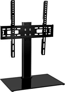 Universal TV Stand Base TableTop TV Stand for 26 to 55 Inch TVs -Height Adjustable TV Base Stand with Tempered Glass Base & Wire Management, Holds up to 88lbs, VESA 400x400mm(Max) by HY Bracket HY4001